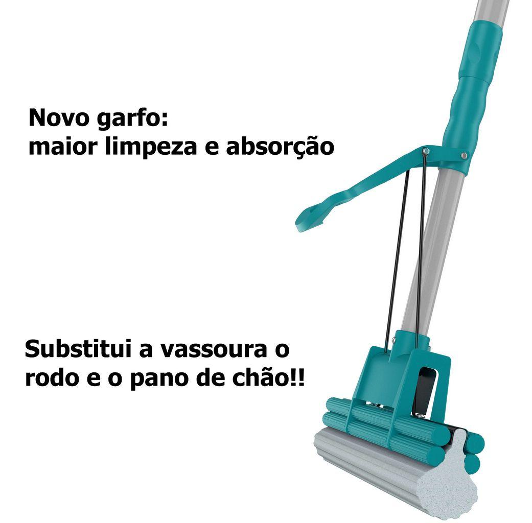 Mop Limpeza Geral Plus Flashlimp Rodo Mágico Rápido Prático Versátil Substitui Vassoura Pano De Chão Lava Seca Refil Cabo Telescópico Econômico