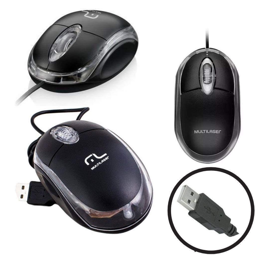 Mouse Multilaser Optico Classic Preto 1200 Dpi Preto Usb - MO179