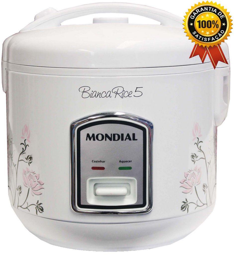 Panela De Arroz Elétrica 5 Xícaras Antiaderente Multifuncional 110V Branca Moderna Decorada Vapor Legumes Aquece 400 Watts Bianca Rice Mondial Original