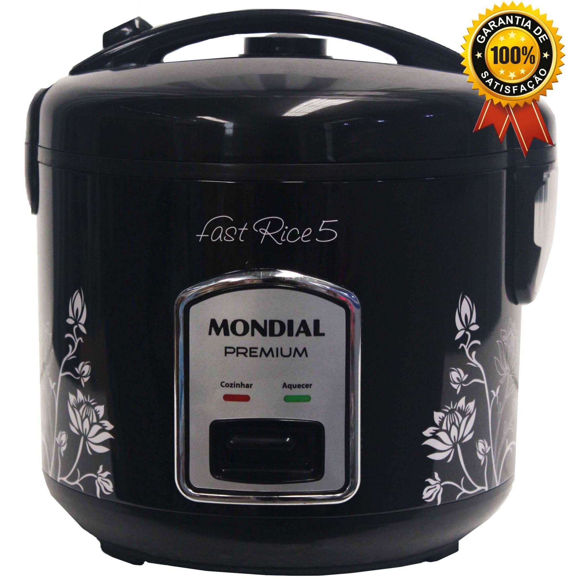 Panela De Arroz Elétrica 5 Xícaras Antiaderente Multifuncional 110V Preta Moderna Decorada Vapor Legumes Aquece 400 Watts Fast Rice Premium Mondial Original