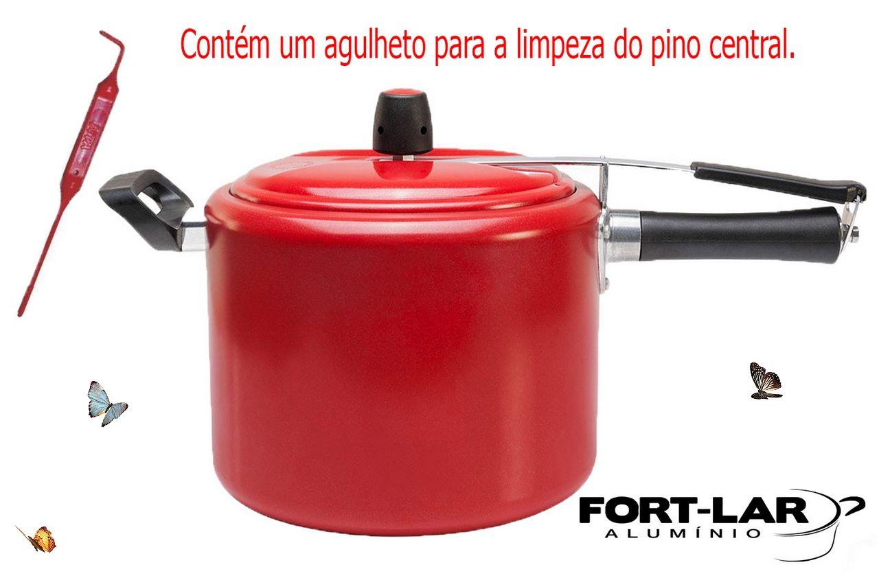 Panela De Pressão 7 Litros Fort Lar Alumínio Pintada Vermelho Colorido 9048