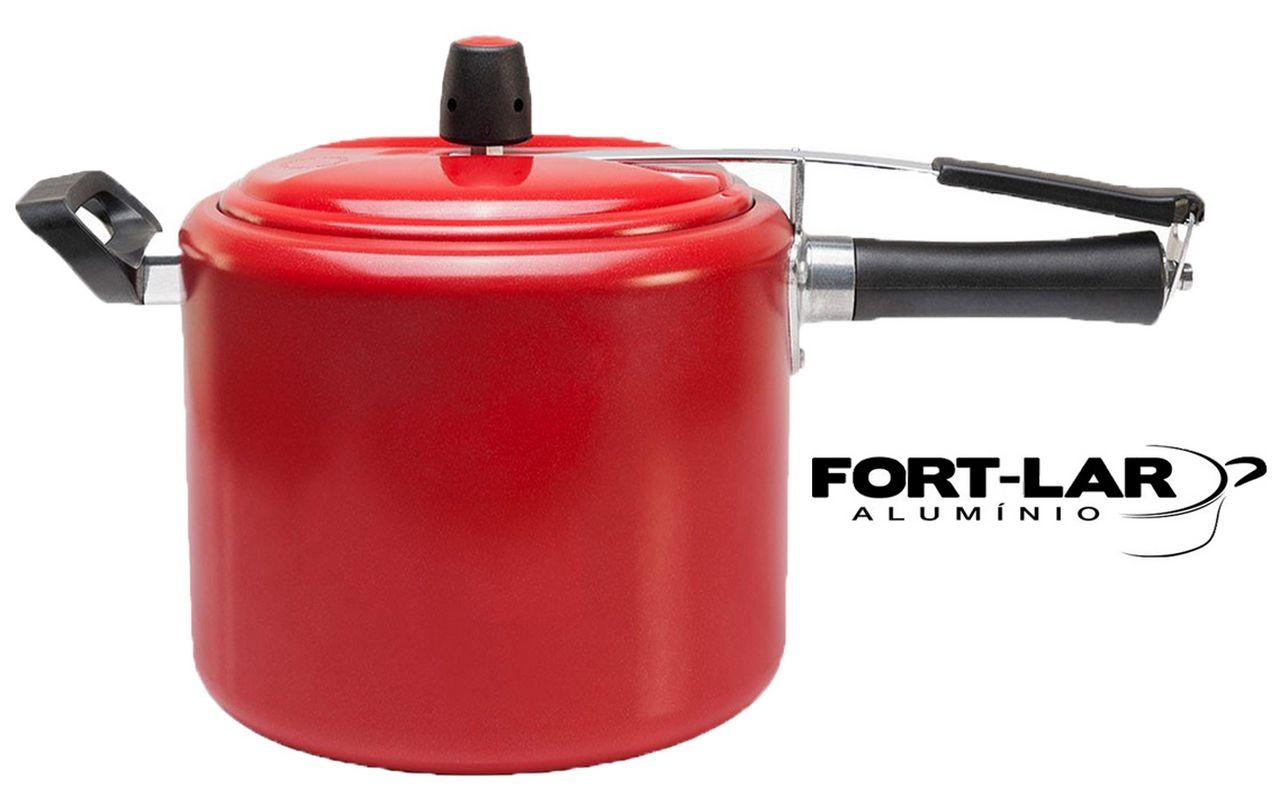 Panela De Pressão 4,5 Litros Fort Lar Alumínio Pintada Vermelho Colorido 9042