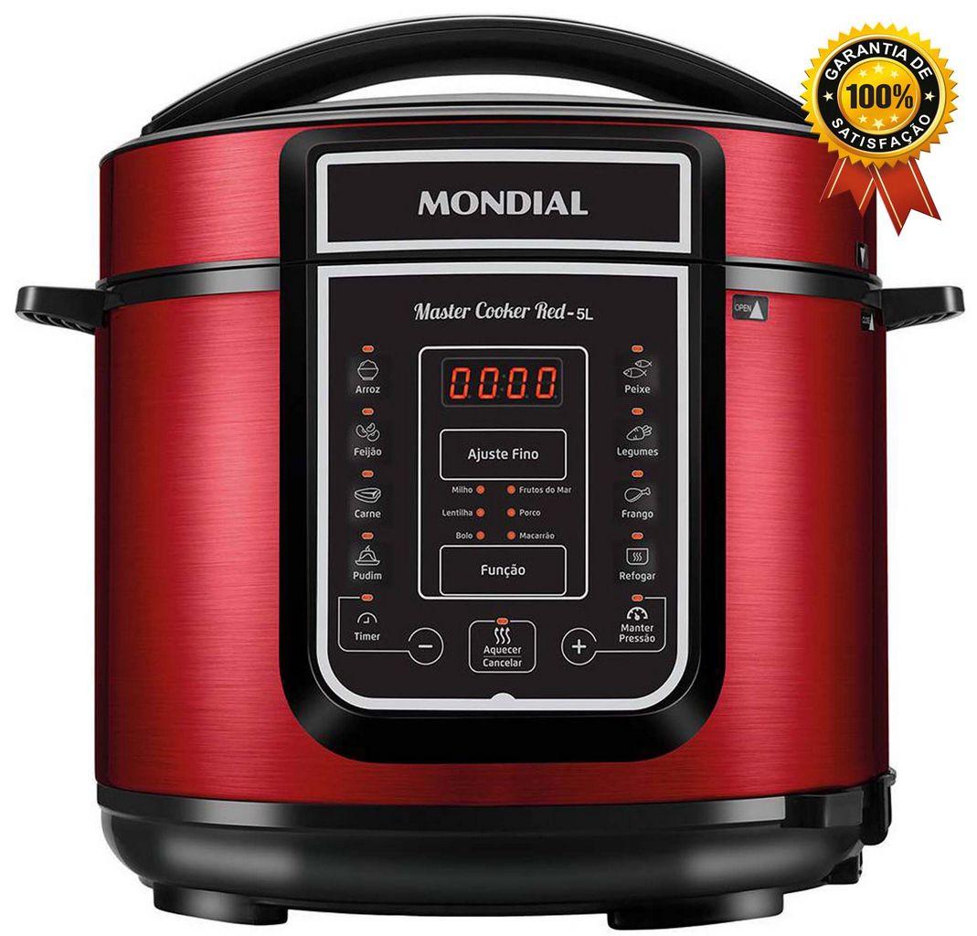 Panela De Pressão Elétrica 5 Litros Display Painel Digital 14 Funções Programáveis Vermelha Aço Inox Timer 900w Aquece Cuba Removível 110V Master Cooker Red Mondial Original