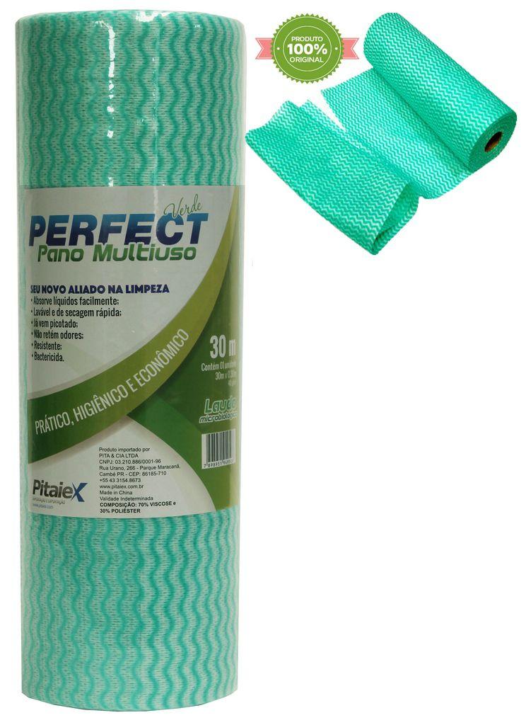 Pano Multiuso Limpeza Rolo Bobina 30 Metros x 30 Cm Picotado Verde Resistente Lavável Prático Perfect Original