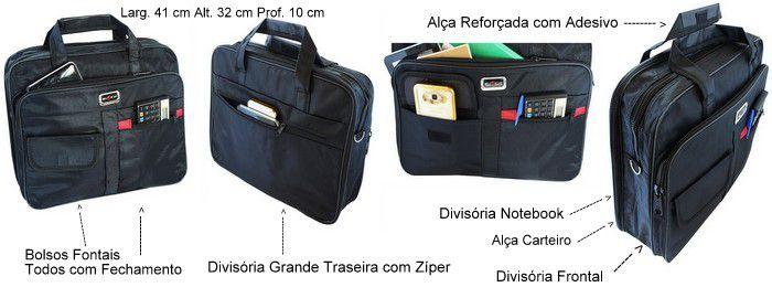 Pasta Bolsa Executiva Preta Social Notebook Masculina Note 15 Alça Tiracolo