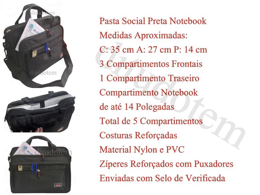Pasta Social Preta Notebook