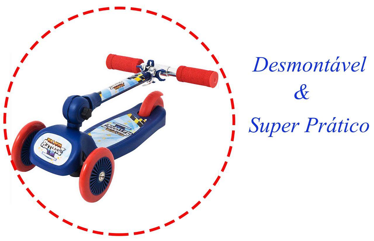 Patinete Infantil 3 Rodas 20kg Ajustável Racing Club Scooter Azul Vermelho Rodinhas Silicone Meninos Original Zoop Toys