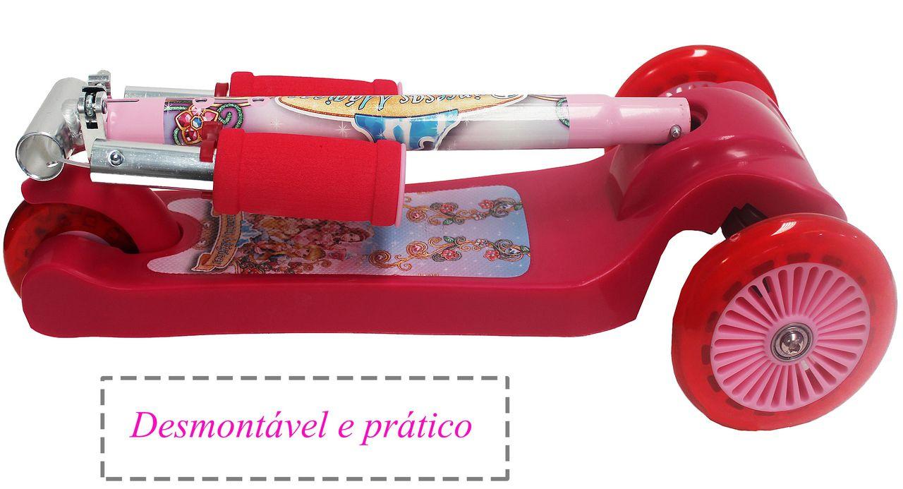 Patinete Infantil 3 Rodas 20kg Princesas Mágicas Rodinhas Silicone Scooter Rosa Meninas Resistente Regulável Original Zoop Toys