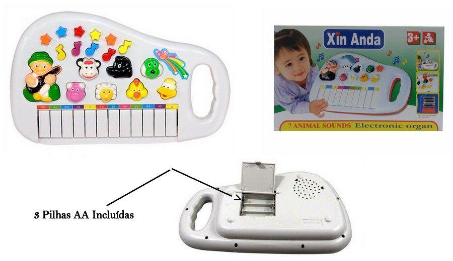Brinquedo Piano Eletrônico Infantil Com Luz e Sons de Animais