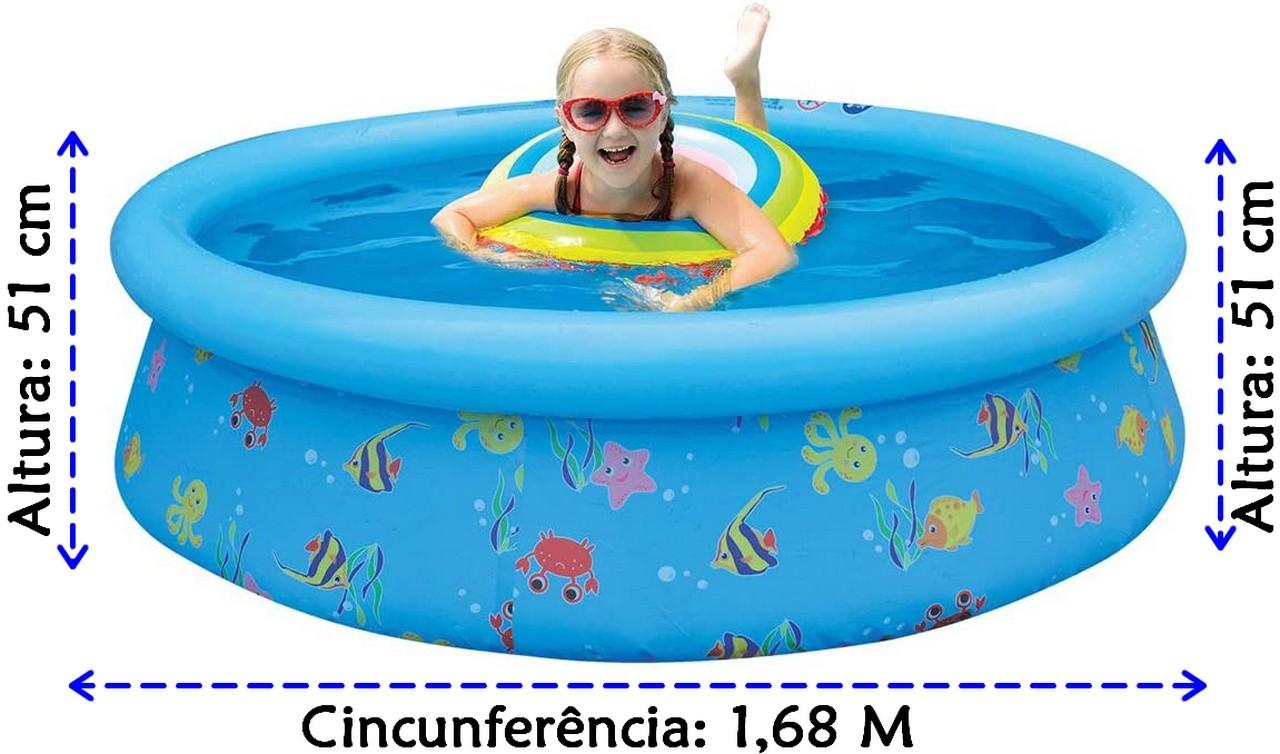 Piscina 1000 litros Inflavel Infantil Redonda Estampada Fundo Do Mar Pvc Divertida Lançamento Belfix