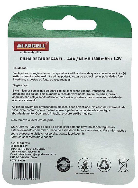 2 Pilhas Recarregáveis NI-MH 1.2V Palito AAA 1800 MAH