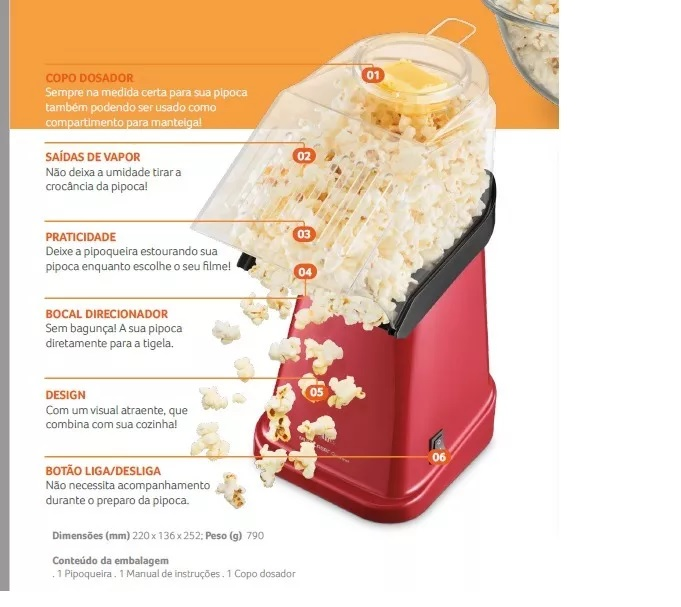 Pipoqueira Elétrica Sem Óleo Goumert 110v 220v Copo Dosador Saudável Vermelha Multilaser