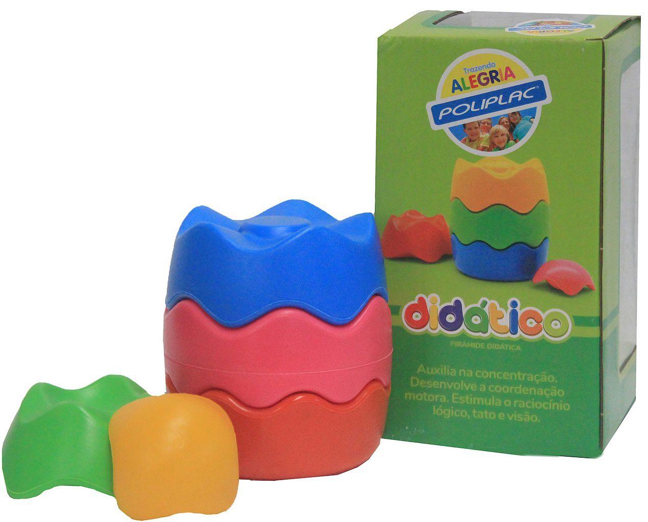 Pirâmide Didática Poliplac Colorido Infantil Desenvolve a Coordenação Motora Tato Visão Original Resistente