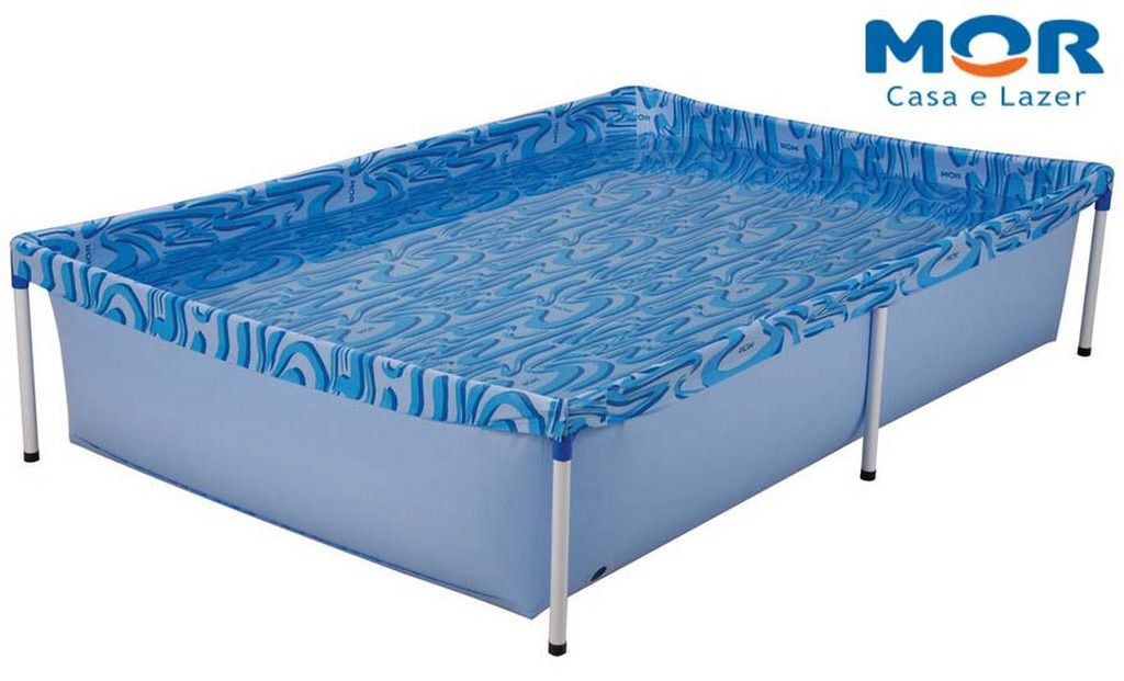 Piscina 1000 Litros Aço Retangular PVC Azul MOR