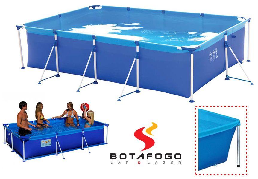 Piscina Infantil Armação Retangular Estruturada 2000 Litros Verão Lona Azul