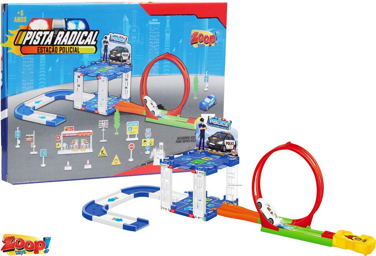 Pista Radical Estação Policial 2 Carrinhos Looping Modelo ZP00575 Infantil Menino Criança Maior 6 Anos Lançamento Zoop Toys