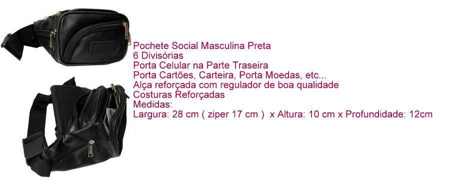 Pochete Preta Masculina Social - 6 Divisórias