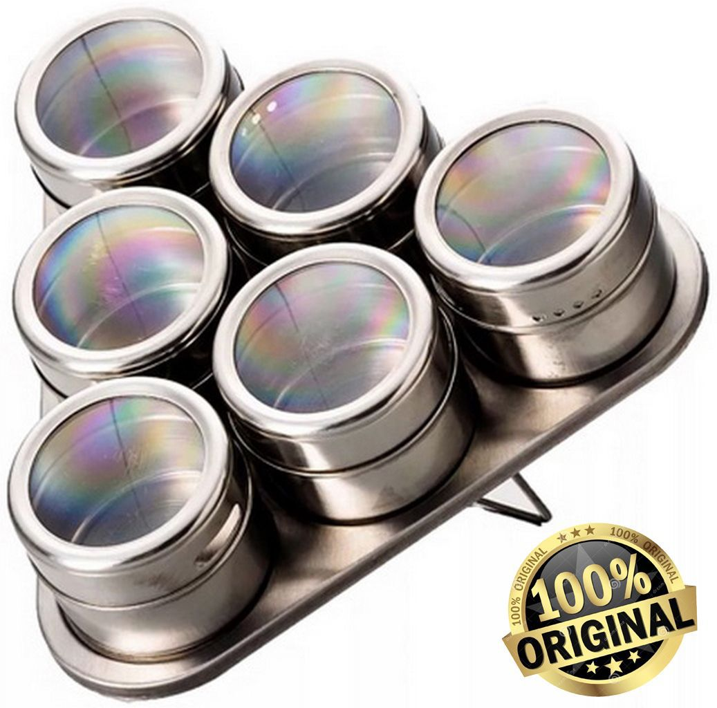 Porta Condimentos Magnético 7 Peças Aço Inox  KEHOME