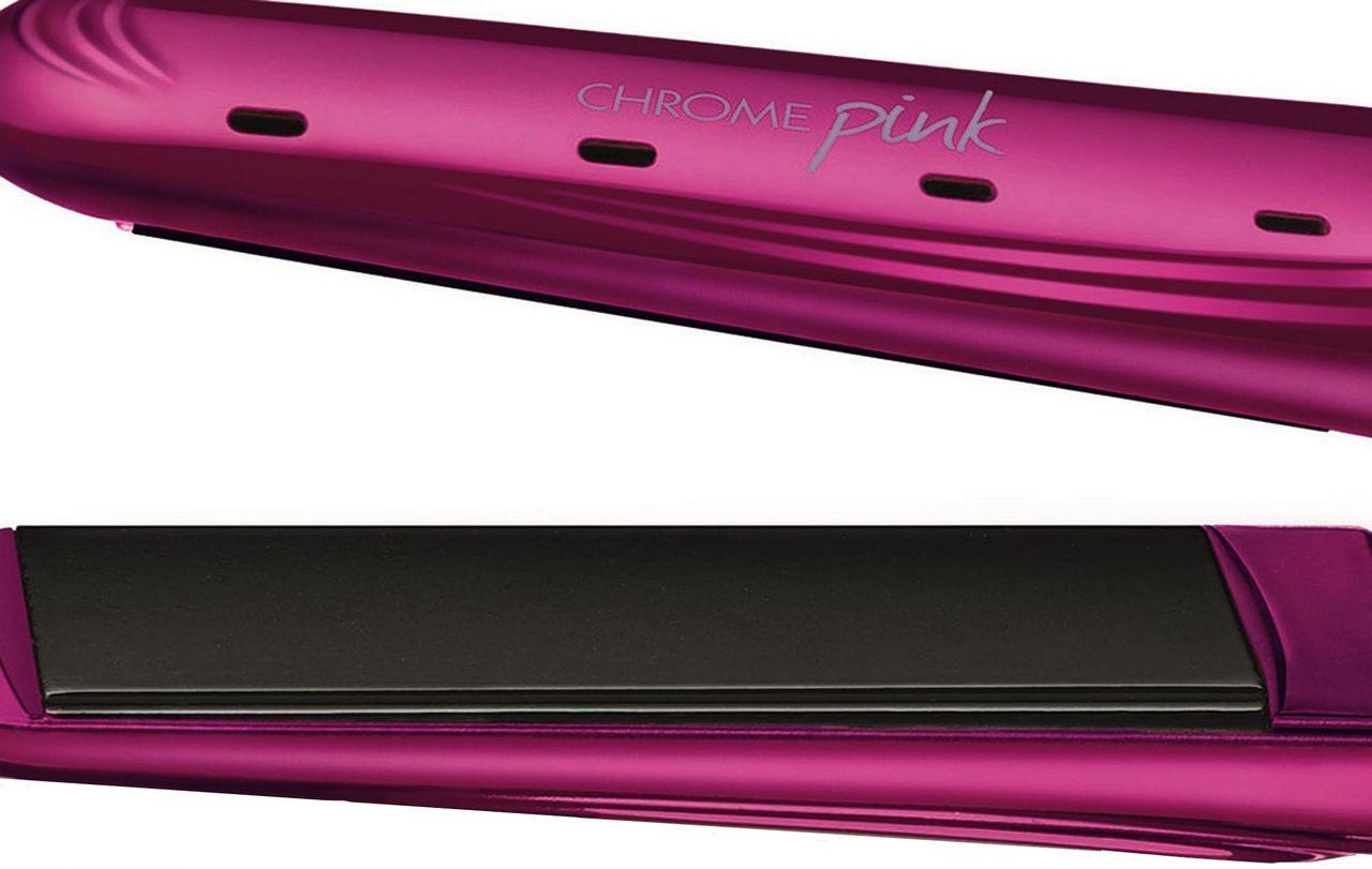 Prancha Chapinha Alisadora Para Cabelos Secos Úmidos Chrome Pink Line 220°C Elétrica Bivolt Chapa De Cerâmica 40 Watts C