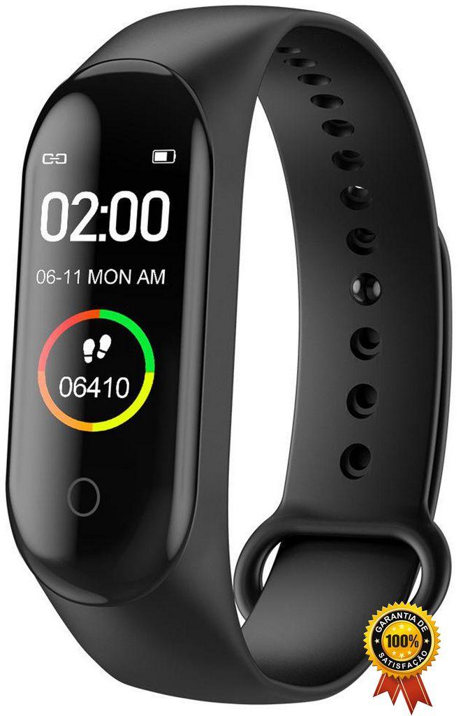 Pulseira Inteligente Smartband Bluetooth Esportivo Recarregável Prova D'água Relógio Frequência Cardíaca Monitor De Pressão Sono Sincronização Movimentos Calorias Distância M4 Original