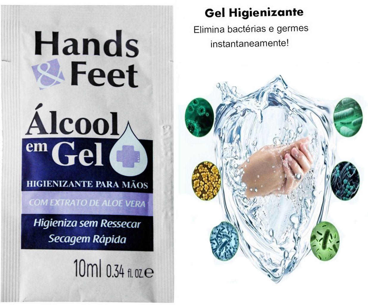 Pulverizador Borrifador Manual 500 Ml Gatilho Spray + Álcool Gel Sachê 70% Antisséptico 10 Ml Bactericida Higienizador Prevenção