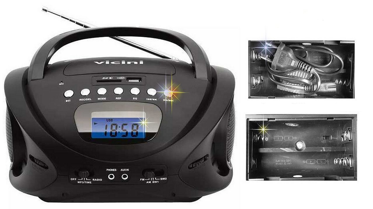 Rádio Am Fm Mp3 Com Entrada Usb E Auxiliar - Vicini Bivolt -VC-5060