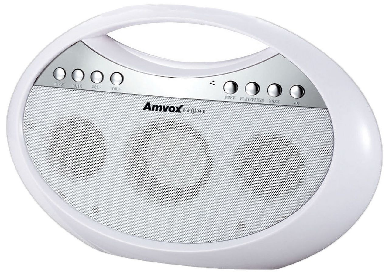 Rádio Portátil Bluetooth Usb Fm Branco Bivolt Pequeno Original Amvox