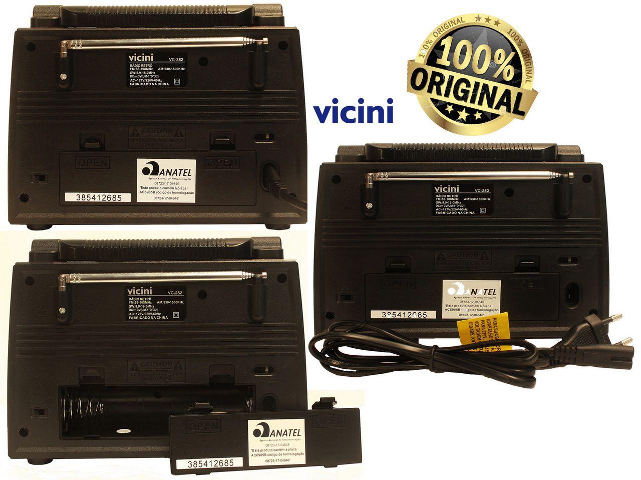 Rádio Retrô Vicini Bluetooth USB Am Fm Bivolt Recarregável VC-282