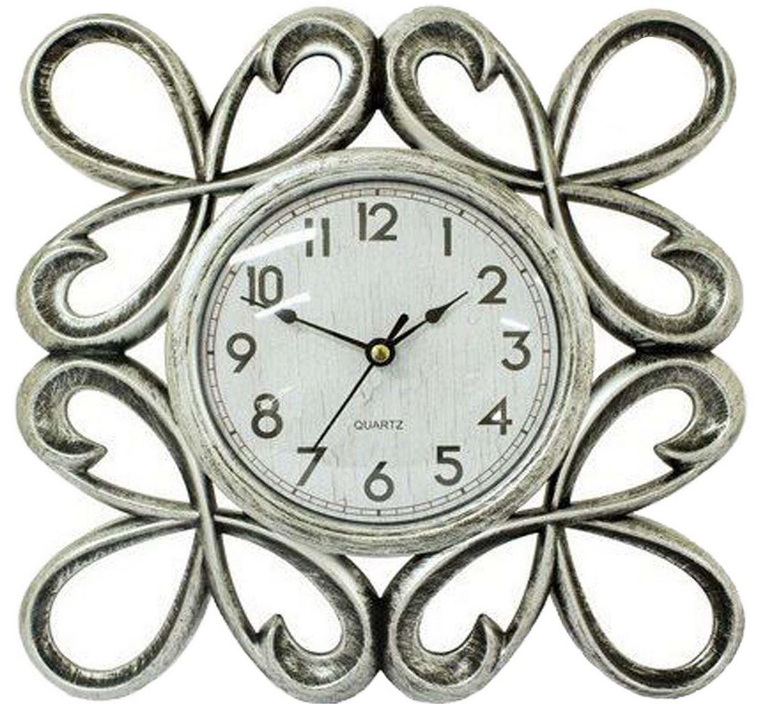 Relógio De Parede Analógio Prata 25 Cm Vintage Retrô Além Mar