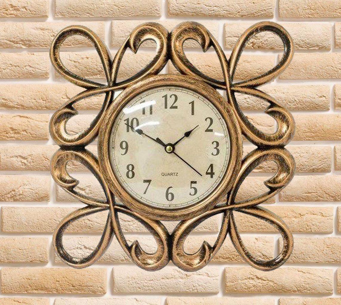 Relógio De Parede Bronze Em Plástico Vintage Retrô Além Mar
