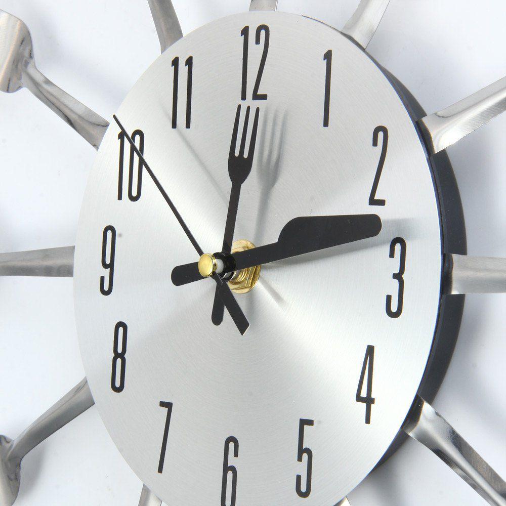 Relógio de Parede Cozinha Formato De Talheres Decorativo Moderno