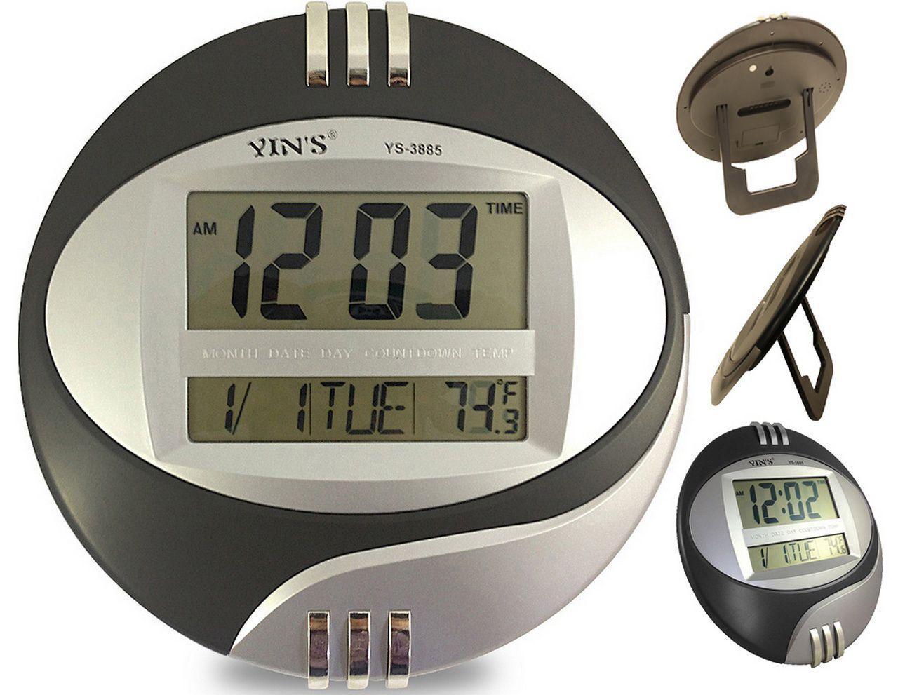 Relógio Digital Redondo De Parede E Mesa Data Temperatura Calendário Alarme