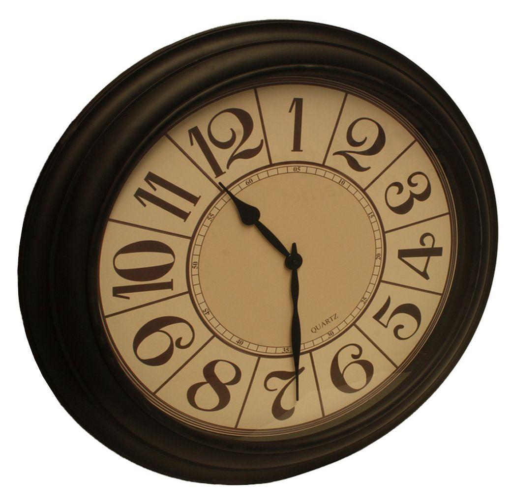 Relógio Parede Analógico 80 Cm Gigante Retrô Marrom ALÉM MAR