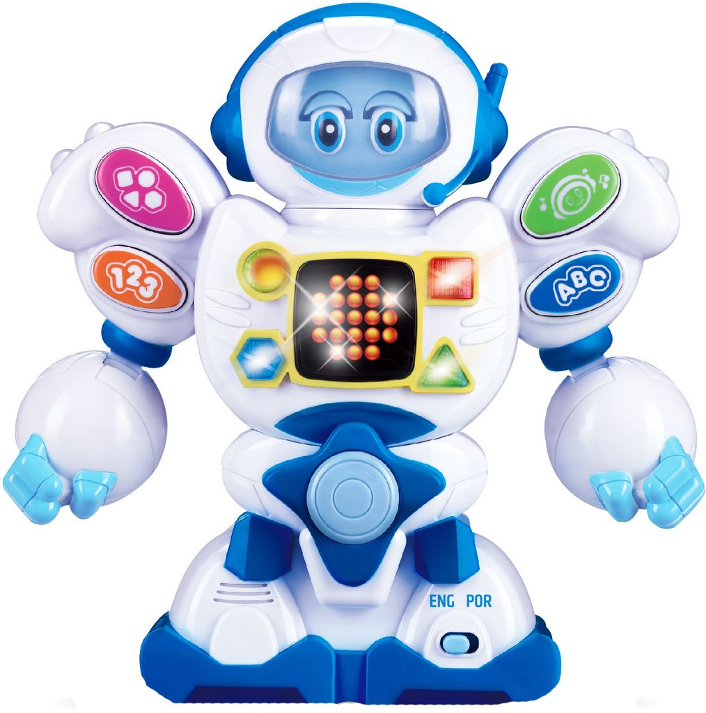 Robô Eletrônico Bilíngue Infantil Educativo Didático Painel Led Bolhas De Sabão Zoop Toys Estimulante Visual Modelo ZP00048