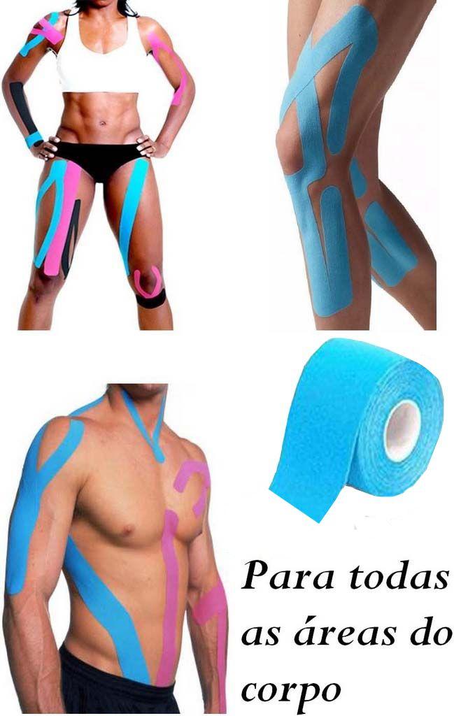 Rolo Fita Kinésio 5 x 500 Cm Tape Bandagem Elástica Funcional Adesiva Azul Musculação Evita Lesões Resistente A Água Muscle Fix Multilaser