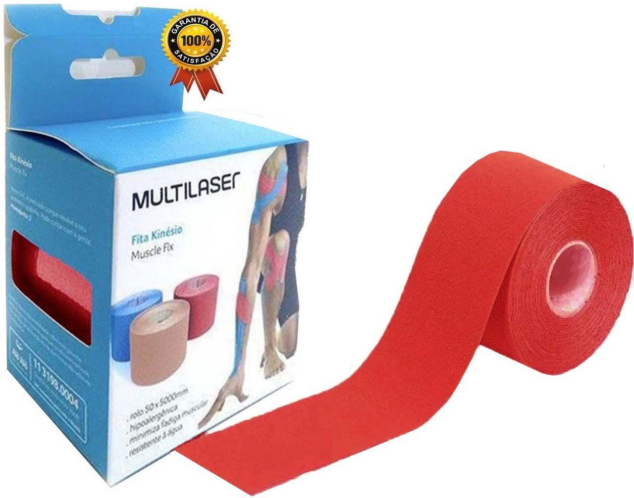 Rolo Fita Kinésio 5 x 500 Cm Tape Bandagem Elástica Funcional Adesiva Vermelha Musculação Evita Lesões Resistente A Água Muscle Fix Multilaser