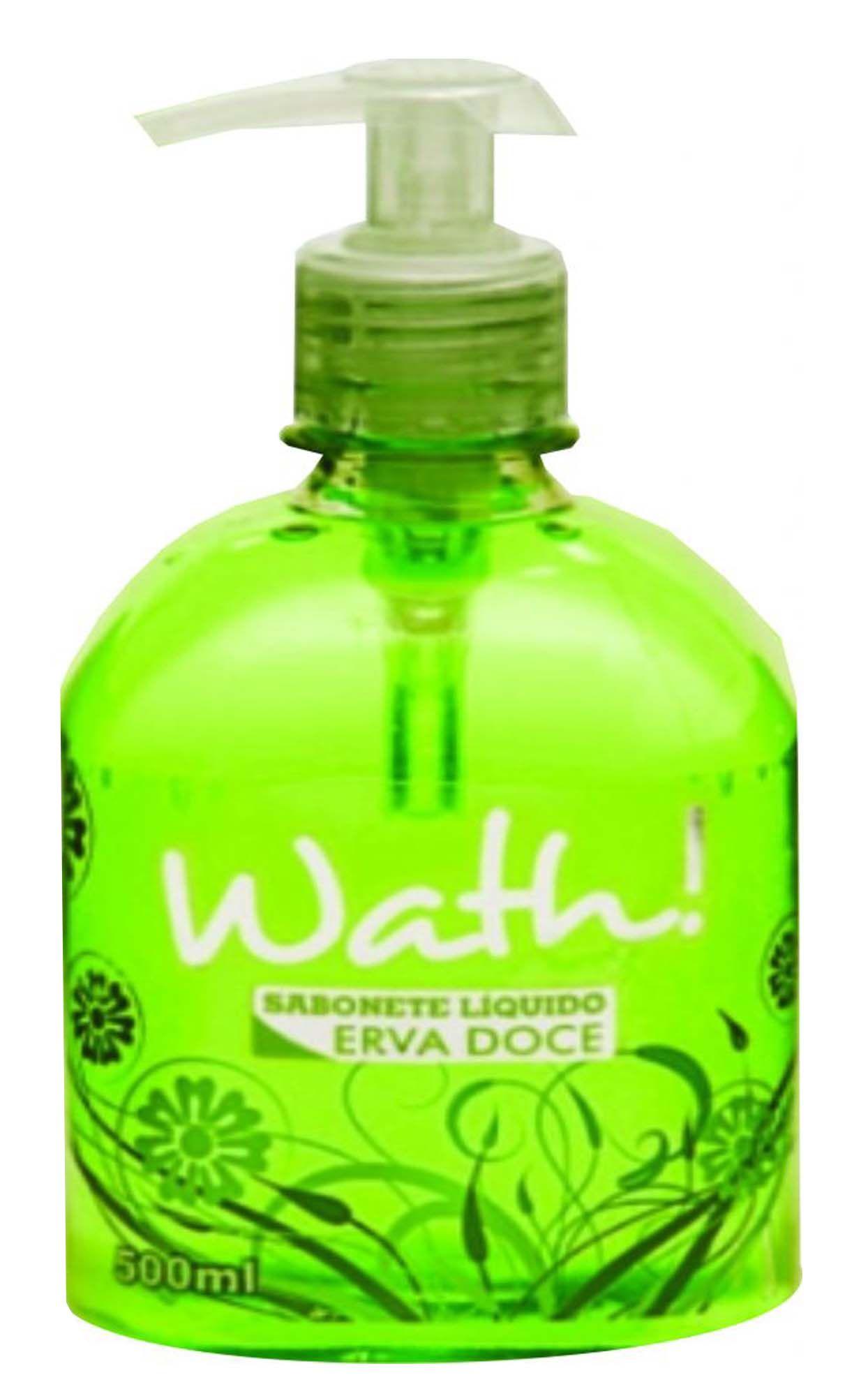 Sabonete Líquido 500ml  Aroma Erva Doce Higiene Limpeza Fresco Hidratação Tampa Rosqueável Bico de Plástico Wath