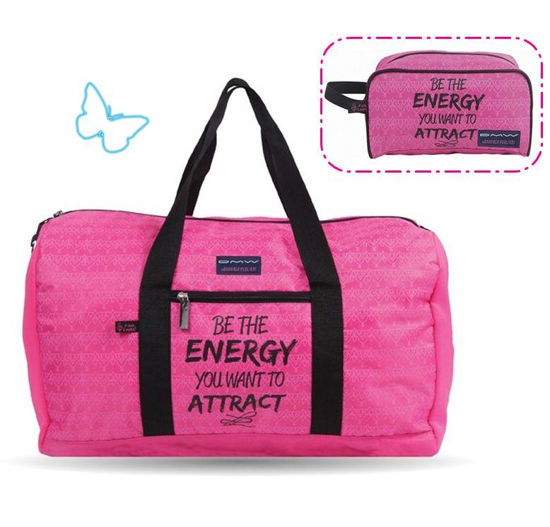 Kit Sacola Feminina Sport Academia Gabriela Pugliesi Rosa Pink Necessaire Energy G