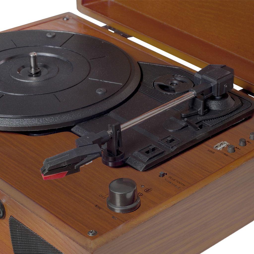 Vitrola Raveo Sonetto Wood Com Toca-discos, Bluetooth E Usb Reproduz E Grava MP3