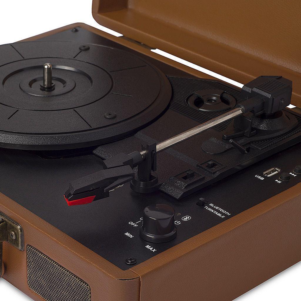 Vitrola Raveo Sonetto Marrom Toca-Discos Bluetooth Reproduz Grava Bivolt Usb Retrô