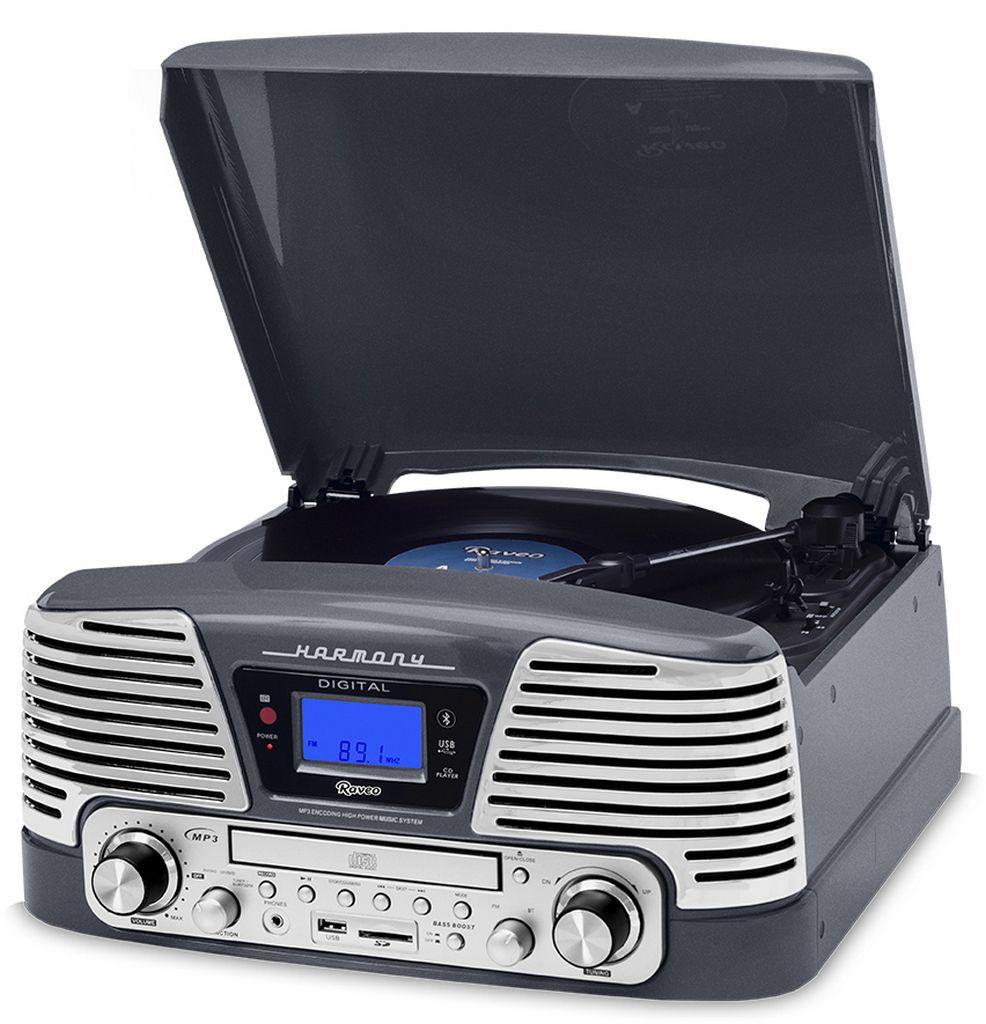 Vitrola Raveo Harmony Titanium Cinza Com Toca-discos Cd Bluetooth, USB E Sd Reproduz e Grava