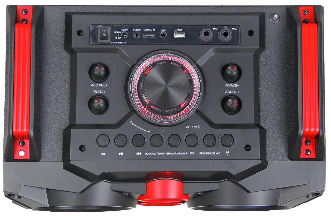 Caixa Som Amplificada Bluetooth Usb Display Leds Grava Mp3 Portátil Rádio Fm Bivolt Amvox