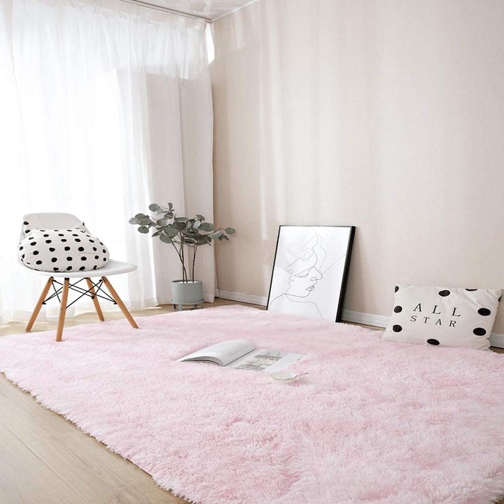 Tapete Sala Quarto Peludo Felpudo Rose Rosa Claro 1,00 X 1,50m Antiderrapante Shaggy Retangular Macio Grande Mundiart