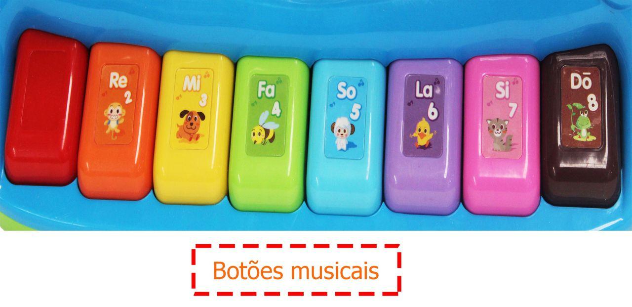Tecladinho Inteligente Musical Didático Bilíngue Infantil Menino Menina Colorido Pilha AA Divertido Modelo ZP00059 Original Zoop Toys