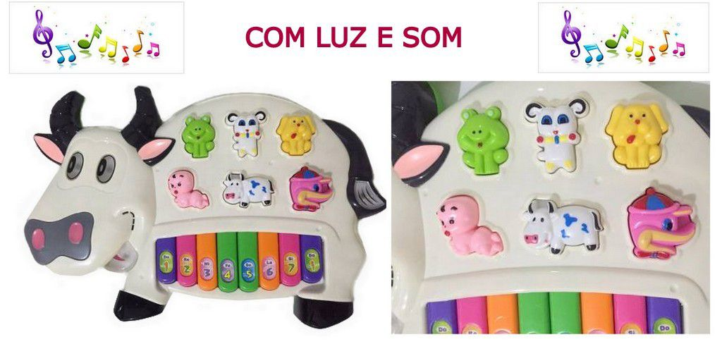 Teclado Infantil Piano Musical Vaquinha 14 Funções