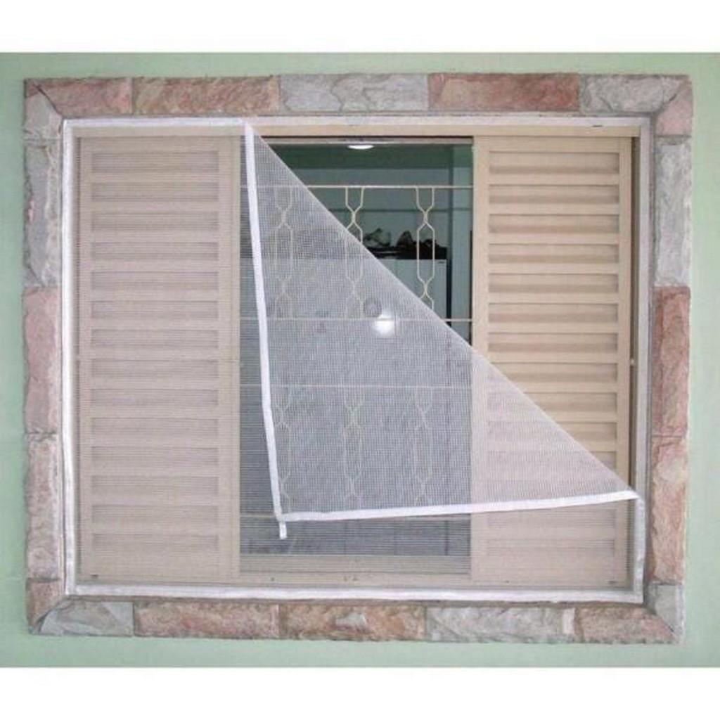 Tela Mosquiteira Protetora Insetos Janelas 1.30 X 1.50 Branca Velcro Adesivo Proteção Insetos