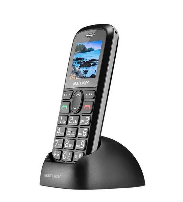 Telefone Celular Vita Dual Chip USB e Bluetooth Tela 1,8 + Base Carregadora Preto Multilaser P9089