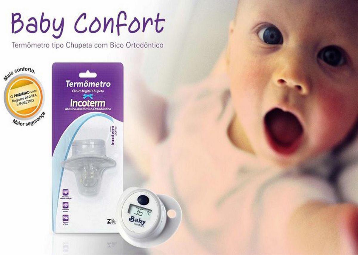 Termometro Digital Chupeta Bico Ortodôntico De Silicone Prova D'Água Indicador Sonoro Memoriza Medição Visor Prática Baby Confort Incoterm