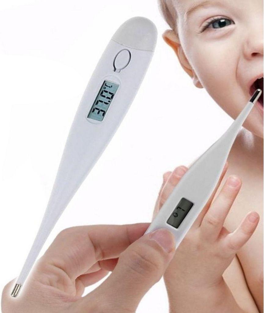 Termômetro Digital Clínico Display LCD Febre Adulto Infantil Medidor De Temperatura Corporal Com Beep Branco Elan Medicare