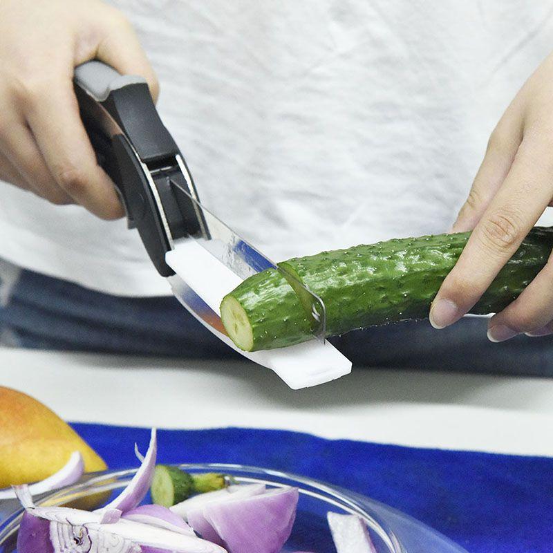 Tesoura 2 Em 1 Clever Cutter -  Cortador de Legumes e Frios